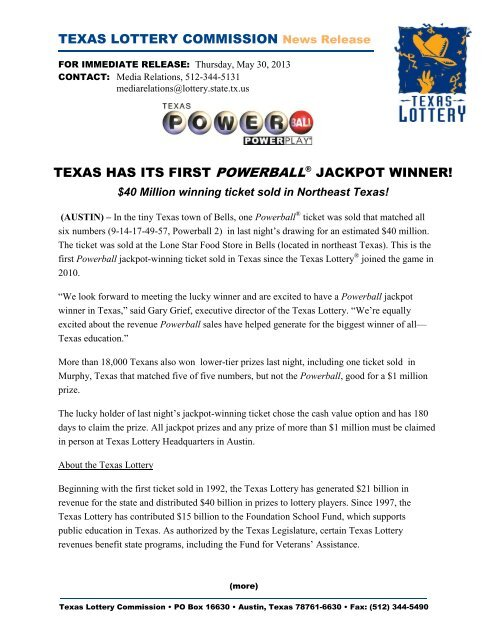 Texas Has Its First Powerball Jackpot Winner! - Texas Lottery