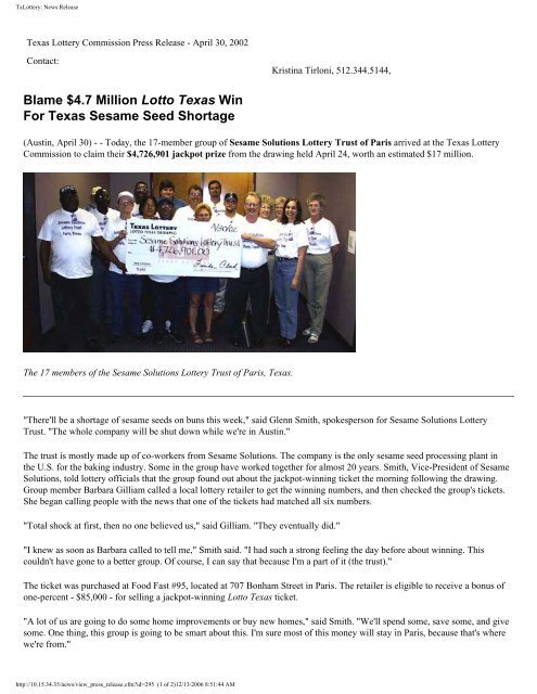 TxLottery: News Release - Texas Lottery