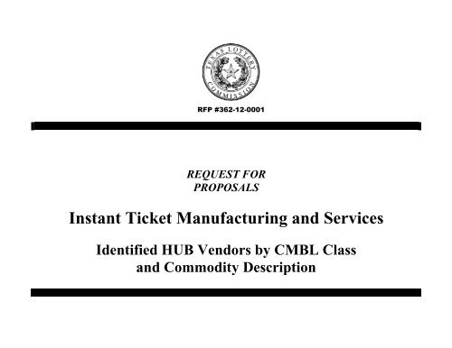 Rfp For Instant Ticket Manufacturing And Services Texas
