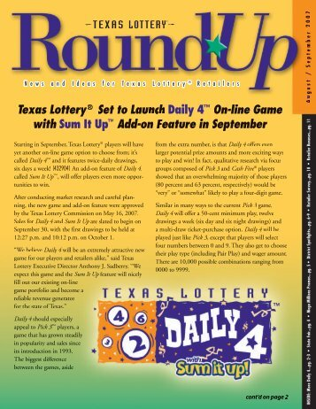 Daily 4™ Sum It Up™ - Texas Lottery