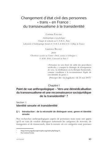 Changement d'état civil des personnes « trans » en France : du ... - Txy