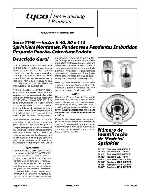 Sprinkler - Tyco Fire Products
