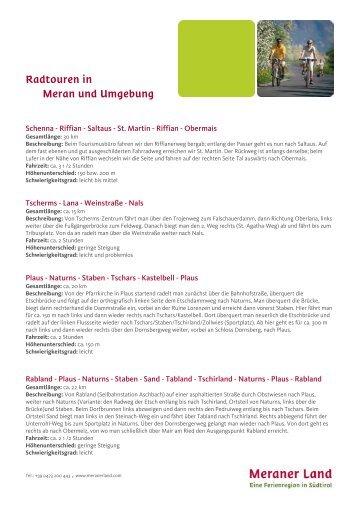 Radtouren in Meran und Umgebung - Meraner Land