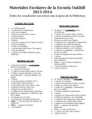 Materiales Escolares de la escuela Oakhill 2007-08