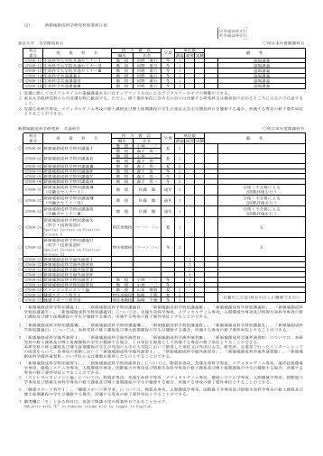 02-1 ②平成24年度授業科目表 【校正後変更】 【学務課提出 ... - 東京大学