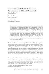 Cooperation and Political Economic Performance in ... - U-System