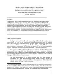 On the psychological origins of dualism: - CiteSeerX