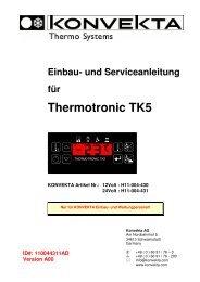Einbau- und Serviceanleitung für Thermotronic TK5 - Konvekta