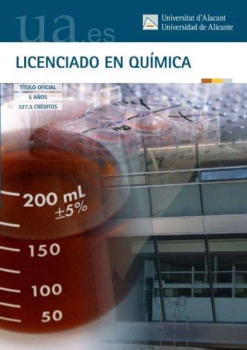 LICENCIADO EN QUÍMICA - Universidad de Alicante