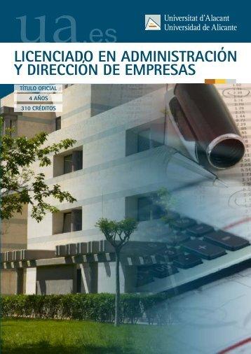 Administración y Dirección de Empresas - Universidad de Alicante