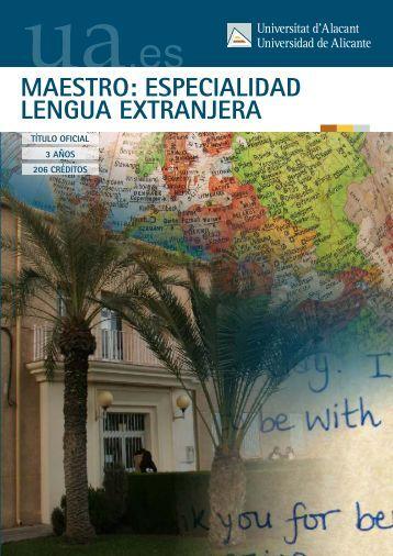 Maestro: especialidad Lengua Extranjera - Universidad de Alicante