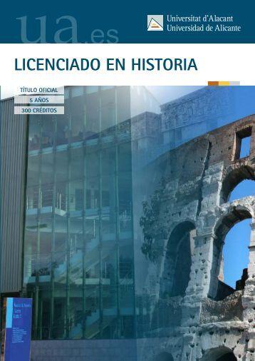 LICENCIADO EN HISTORIA - Universidad de Alicante
