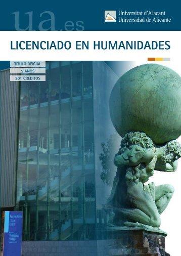 LICENCIADO EN HUMANIDADES - Universidad de Alicante