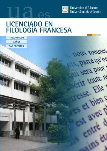 LICENCIADO EN FILOLOGÍA FRANCESA - Universidad de Alicante