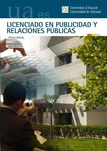 Publicidad y Relaciones Públicas - Universidad de Alicante
