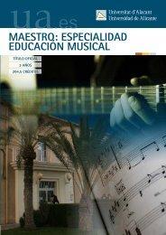 Maestro: especialidad Educación Musical - Universidad de Alicante