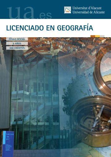LICENCIADO EN GEOGRAFÍA - Universidad de Alicante