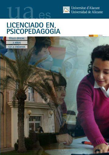 LICENCIADO EN PSICOPEDAGOGÍA - Universidad de Alicante