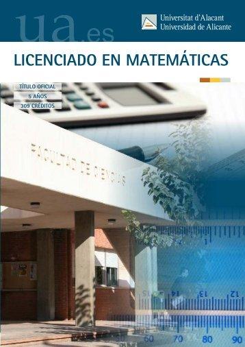 LICENCIADO EN MATEMÁTICAS - Universidad de Alicante