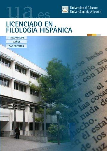 LICENCIADO EN FILOLOGÍA HISPÁNICA - Universidad de Alicante