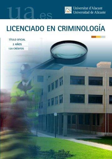 LICENCIADO EN CRIMINOLOGÍA - Universidad de Alicante