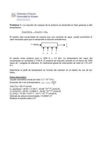 Problema 7. RFP encamisado con una reaccion no isoterma