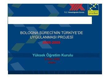 Bologna Süreci'nin Türkiye'de uygulama projesi
