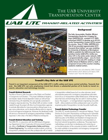 Transit-Related Work - University of Alabama at Birmingham