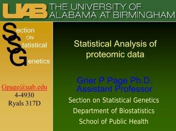 Statistical Analysis of proteomic data