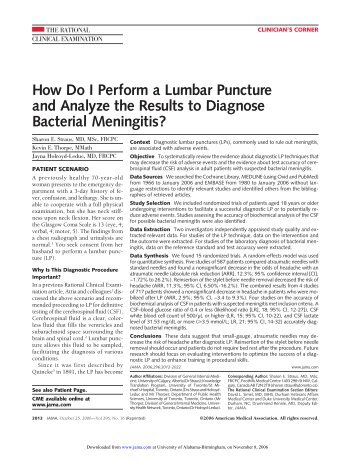 How Do I Perform a Lumbar Puncture and Analyze the Results to ...