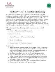 Faulkner County 4-H Foundation Scholarship - University of ...