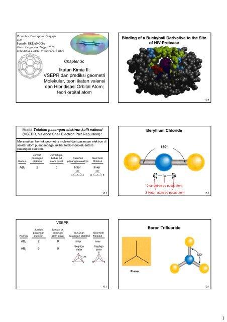 1 Ikatan Kimia Ii Vsepr Dan Prediksi Geometri Molekular Teori