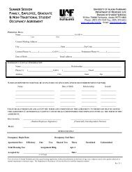 Summer Session Occupancy Agreement - University of Alaska ...