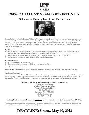 William R and Dorothy Jane Wood Talent Grant - University of ...