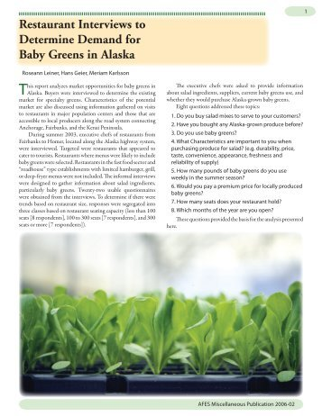 Restaurant Interviews to Determine Demand for Baby Greens in ...