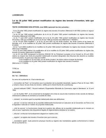 Loi du 20 juillet 1992 portant modification du régime des brevets d ...
