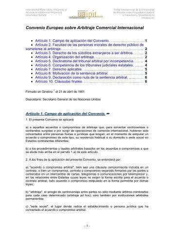 Convenio Europeo sobre Arbitraje Comercial ... - Uaipit.com