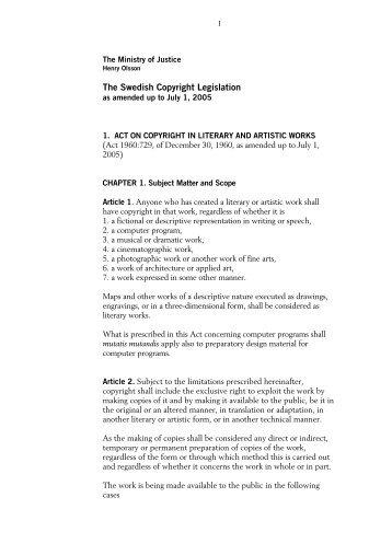 The Swedish Copyright Legislation - IViR