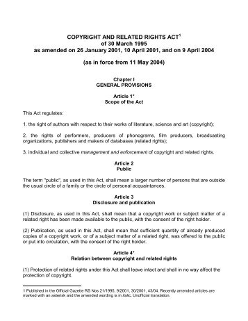 COPYRIGHT AND RELATED RIGHTS ACT* - Uaipit.com