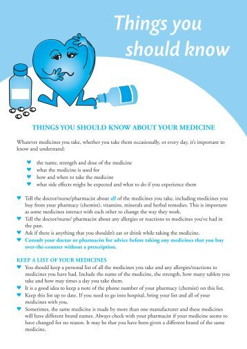 What should I know about my medicines - Adelaide and Meath ...