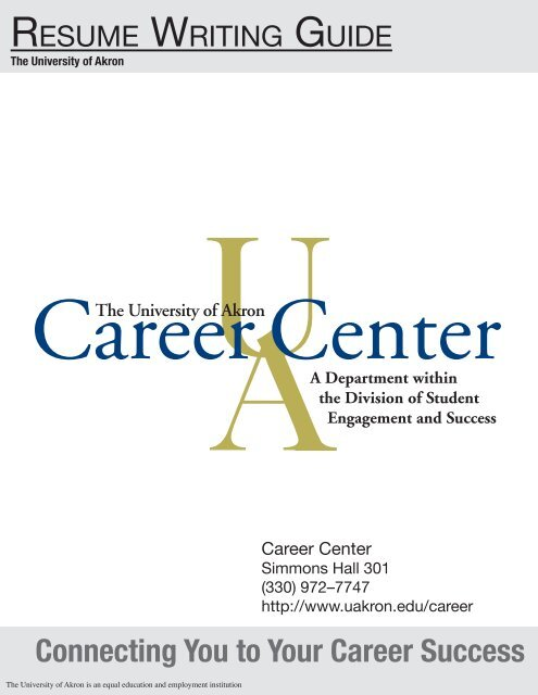 Resume Guide The University Of Akron