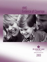 SummaCare Certificate of Coverage