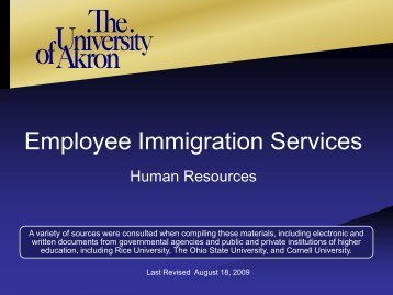 Employee Immigration Services - University of Akron