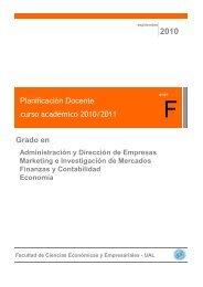 Planificación Docente curso académico 2010/2011 Grado en