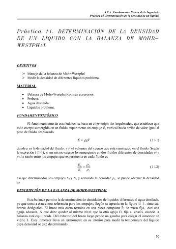 Práctica 11. DETERMINACIÓN DE LA DENSIDAD DE UN LÍQUIDO ...