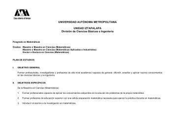 Programa de estudios del Posgrado en Matemticas - UAM