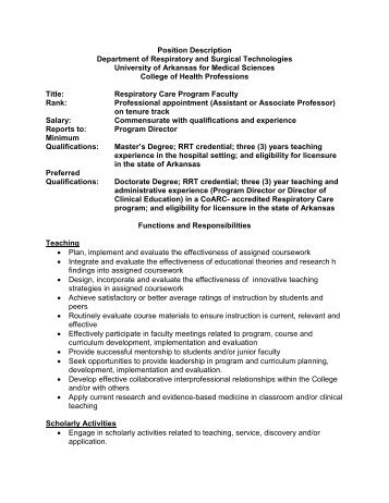Position Description Department of Respiratory and Surgical ...
