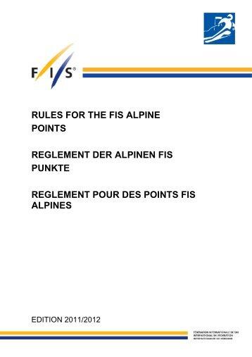 Règlement des points FIS - Edition 2012 - International Ski Federation