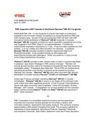 FMC Appoints UAP Canada to Distribute Ranman®400 SC Fungicide