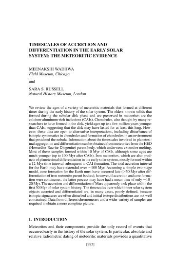 timescales of accretion and differentiation in the early solar system